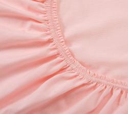 Купить розовую трикотажную простынь на резинке