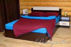 Купить бордово-бирюзовое трикотажное постельное белье